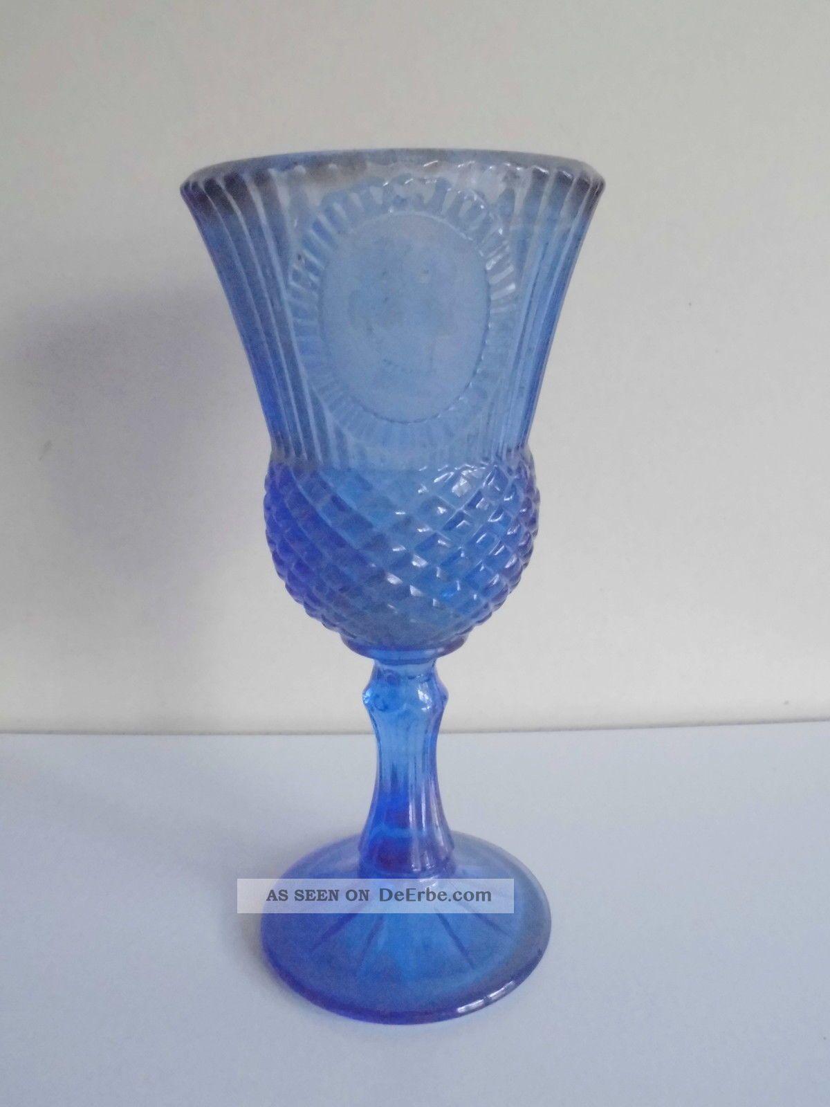 Avon Stielglas Pressglas Kelchglas Blau Motiv Sammler Sammlerglas Bild