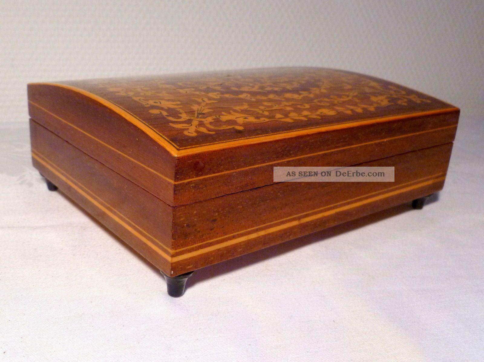 spieldose mit intarsien spieluhr holz schmuckschatulle. Black Bedroom Furniture Sets. Home Design Ideas