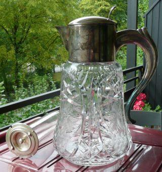 Große Kalte Ente Art Deco Punze Hke Kristall Schliff Glas - Einsatz,  Karaffe 33cm Bild