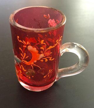 Antikes Bäderglas Andenkenglas Franzensbad Kurbecher Emaille Blüten Böhmen Bild