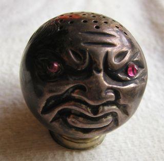 Salzstreuer Echt Silber Gold Sterling Silver 1900 Teufel Jugendstil Rubin Kopf Bild