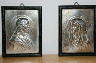 Zwei Antike Versilberte Metall Reliefbilder,  Altarbilder Maria Und Jesus Bild