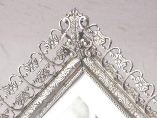Antiker Musealer Bilderrahmen Rahmen Jugendstil Silber Gewölbtes Glas Bild