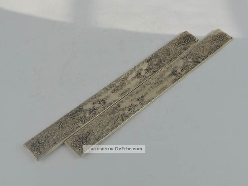 Old Tibet Silver Carving 2x Dragon Paperweight Bookmark Antike Bild