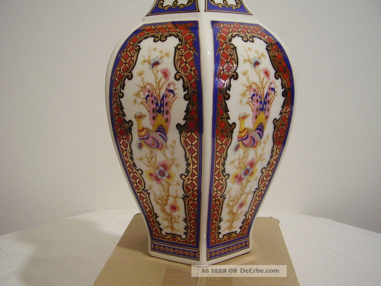 Vase Porzellan Asien 6 Eckig Bilder Gold Dekor 26 Cm Hoch Antike Bild