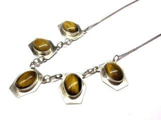 Silberne Halskette Mit 5 Kleinen Anhänger Mit Tigerauge 6t6709 Bild