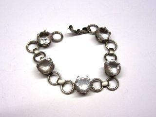 Silbernes 835 Armband Mit Großen Weißen Strasssteinen 4g9073 Bild