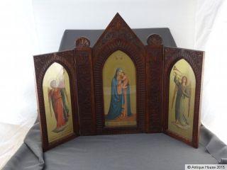 Geschnitzter Alter Hausaltar Holz Heiligenbilder Holzaltar Madonna Della Stella Bild