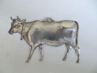Ex Voto - Votivgabe - Kuh – Um 1950 - Versilbert - GesamtlÄnge 14 Cm Bild