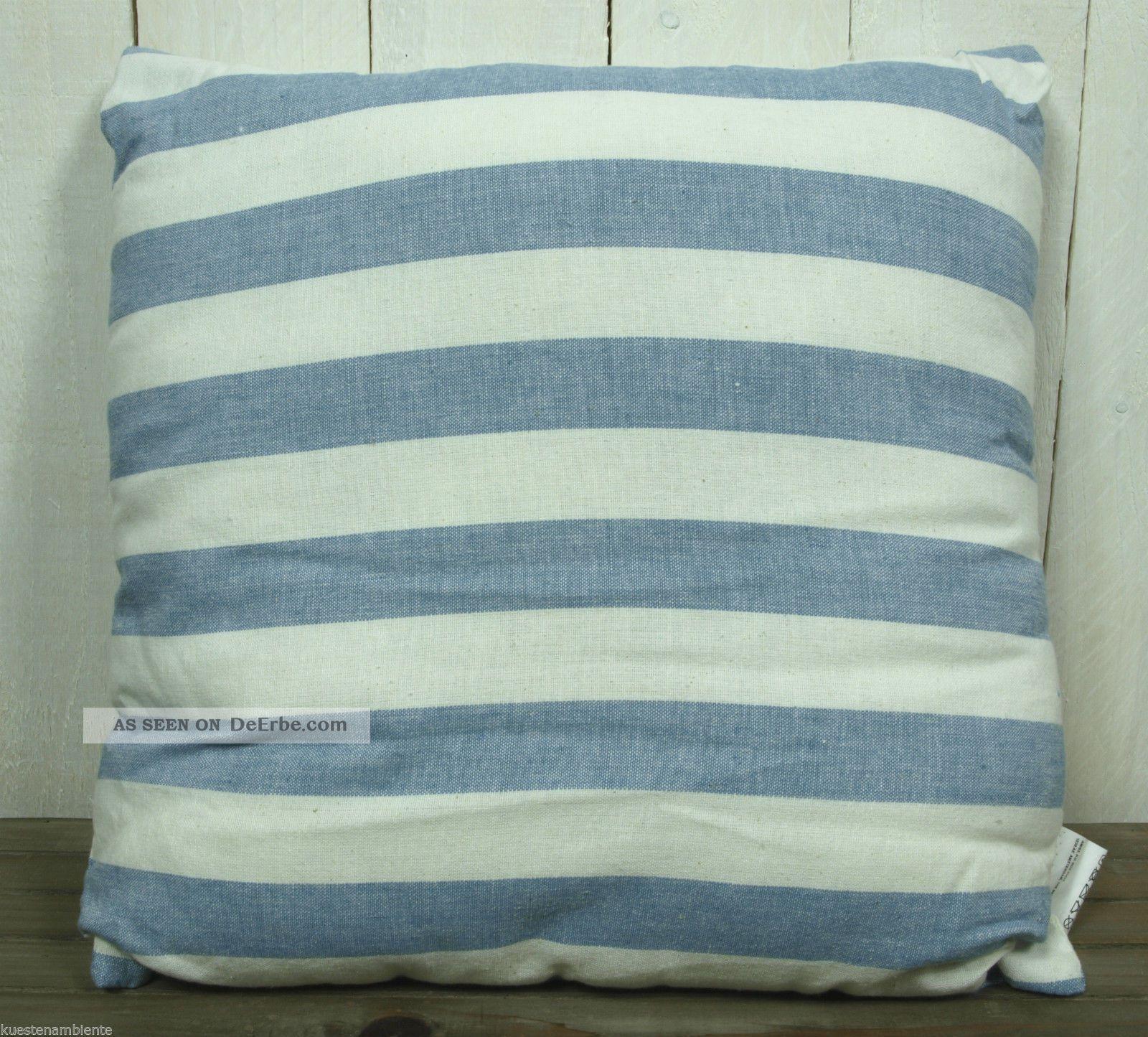 maritimes deko kissen sofakissen mit f llung 40x40 cm blau natur gestreift. Black Bedroom Furniture Sets. Home Design Ideas