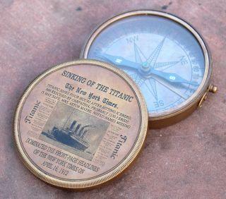 Vintage Schiff Marine Kompass Seemännisch Navigiert Messing Königlich Geschenk Bild