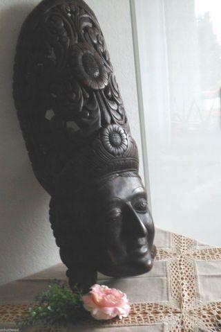 """Wandmaske,  Tanz - Maske,  Holz - Asiatika,  Handgeschnitzt """"alter Unbekannt"""" Top Bild"""