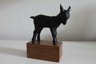 Ziege Aus Metall Mit Holzsockel Schöne Figur Skulptur 17,  5 Cm Hoch Bild