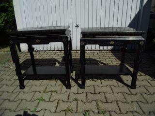 2 X Beistelltische,  China Möbel,  Tisch,  Blumenhocker,  Schwarz Mit Applikationen Bild