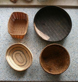 Bambusflechtwerk 4 X Korb Schale Versch.  Formen Farben Feine Handwerksarbeit Bild