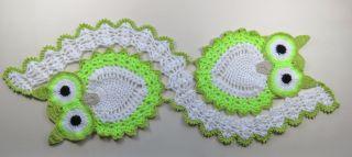 Eulen Tischläufer Gehäkelt Weiss - Neongrün - Grün Bild