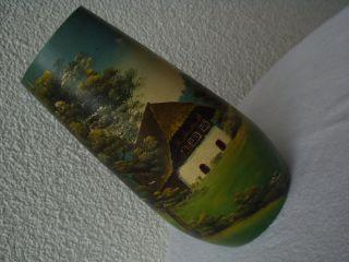 Antike Originale Wunderschöne Bemalte Vase Aus Holz Gedrechselt Um 1900 Bild