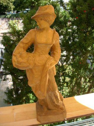 Gr.  Holzfigur - Heiligenfigur - Allegorie Sommer - Magd/frau Mit Obst - Geschnitzt - Deko Bild