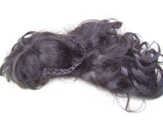 Alte Puppenteile Fast Schwarze Lang Haar Perücke Vintage Doll Hair Wig 50cm Girl Bild