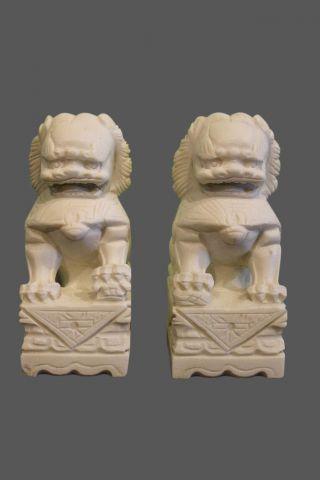 Tempel Löwen Marmor Stein Tibet Klein Japangarten Japan China Garten Fudogs Weiß Bild