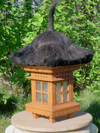 Bali Lampe Gartenlampe Dekoration Holzhellbraun 60cm Bild