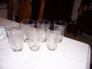 6 X Alte Mundgeblasen Und Diamant - Geschliffene Wassergläser,  Traubenschliff Bild