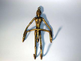 Alte Wand - Figur Wandhaken Kleiderhaken Garderobe Messing Bronze Gelbguss Benin? Bild