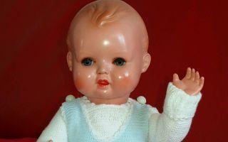 Seltenes Altes Celluloid Minerva Baby Puppe Helmmarke Babypuppe 30cm Nur 1 Tag Bild