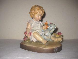 Nachlass,  Dolfi Figur,  Mädchen Mit Teddybär Und Blumen Von Lisi Martin,  19 Cm Gr. Bild