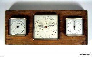 Fischer Wetterstation Massivholz Barometer Thermometer Hygrometer Sammlerstück Bild