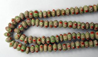 Tibet Chevron Perlen Halskette Grün Tribal Himalayan Trade Beads Necklace 2 Bild