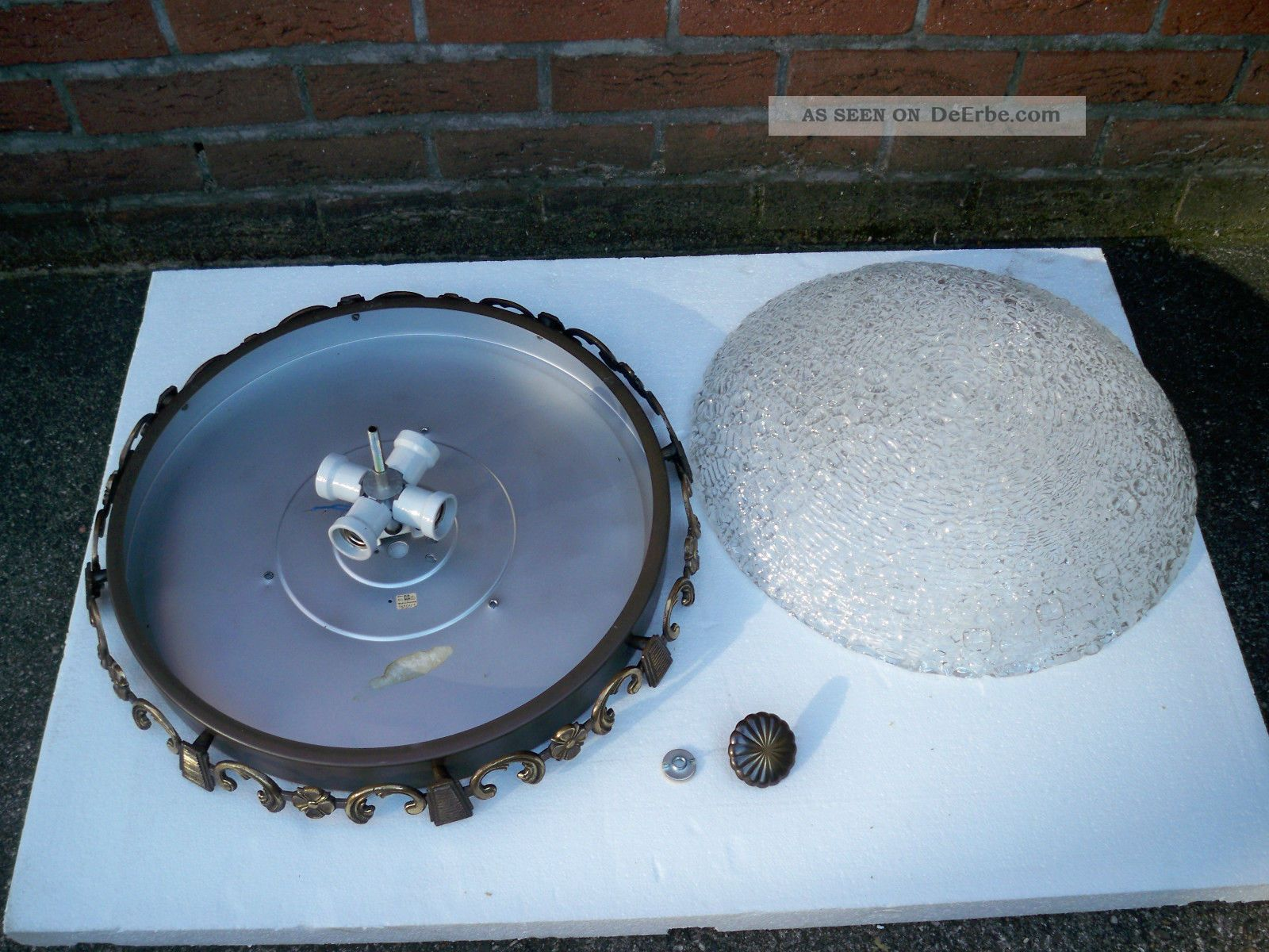 Plafoniere Messing : Xxl:alte 4 fl. plafoniere deckenlampe deckenleuchte messing bronze