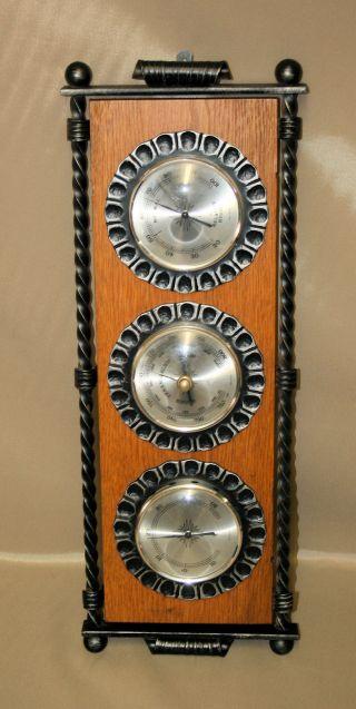Große 3 In 1 Wetterstation Mit Rahmen Aus Gusseisen Holz Barometer Thermometer Bild