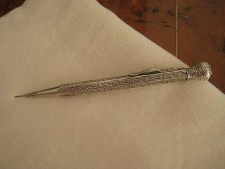 Antiker Drehbleistift,  Jugendstil Silber 835 Gemarkt Feine Gravur Minenstift Bild