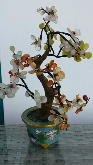 Edelsteinbaum In Cloisonneschale Cloisonne China Bild