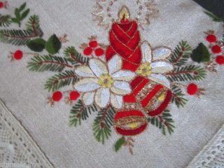 Traum Weihnachten Mitteldecke Tischdecke Leinenoptik Beige Adventskranz Spitze Bild