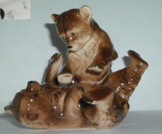 Zwei Kämpfende Bären Keramik Figur Sitzendorf Bild
