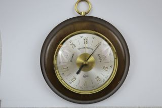 Älteres Barigo Barometer Im Holz - Gehäuse Gut Erh.  Mit Gebrauchsspuren D: 15 Cm Bild
