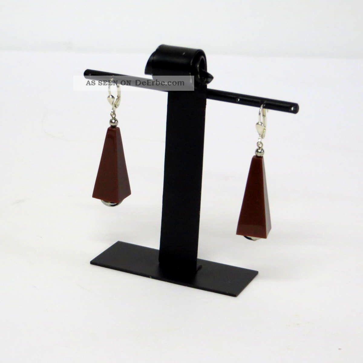 Paar Braune Jakob Bengel Ohrringe/earrings Galalith Art Déco 30er Jahre Schmuck nach Epochen Bild