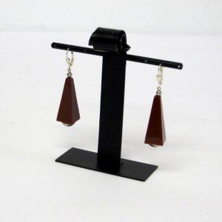 Paar Braune Jakob Bengel Ohrringe/earrings Galalith Art Déco 30er Jahre Bild