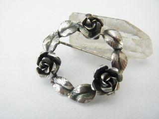 Hübsche Kleine Brosche Silber 835 Rosen Sign.  Teka Bild