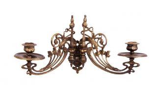 Jugendstil Wand - Klavier - Kerzenleuchter Guss Antik Bronziert 34 Cm Breit Bild