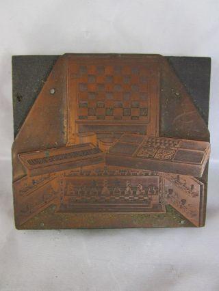 Druckstock Matritze Schach - Schrank Domino Chess Katalogdruck Stempel Um 1880 Bild