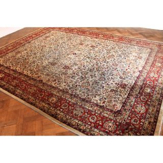 Fein Handgeknüpfter Perser Blumen Palast Teppich Herati Carpet Tappeto 400x300cm Bild
