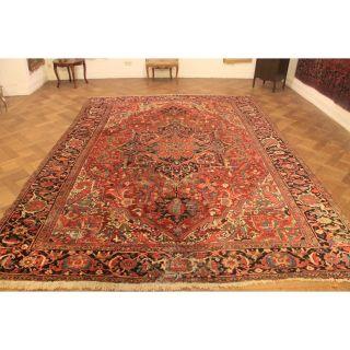 Antik Handgeknüpfter Sammler Teppich Heris Serapi Rare Old Rug Carpet 270x370cm Bild