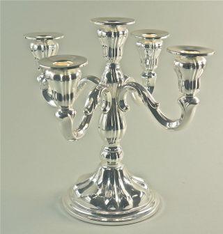 Dekorativer Kerzenleuchter,  5 - Flammig,  Metall Versilbert,  Anlaufschutz,  H.  26 Cm Bild