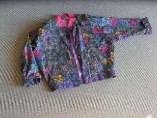 Vintage - Blouson - Jacke - Grau - Pink - Lila - Druck 70er Jahre - Gr.  40/42 - Wie Bild