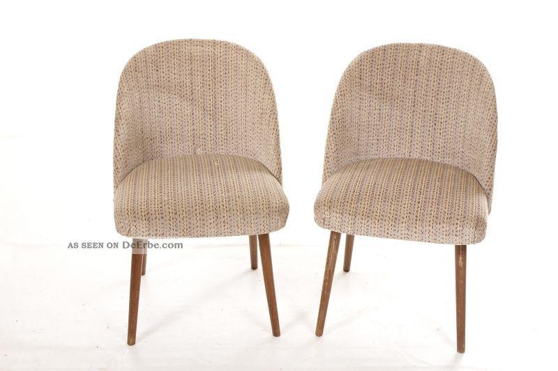 Schöner Alter Stuhl Vintage Retro Chair 60er 70er Jahre Stoffstuhl 1960-1969 Bild