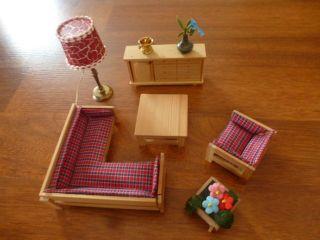Lundby Lisa,  Puppenhaus,  Wohnzimmer,  Sofa,  Sessel,  Schrank,  Tisch Und Lampe Bild
