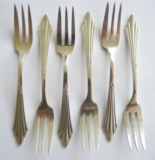 6 Kuchengabeln,  Fächermuster - Wmf - 90er Silberauflage 14,  5 Cm Bild